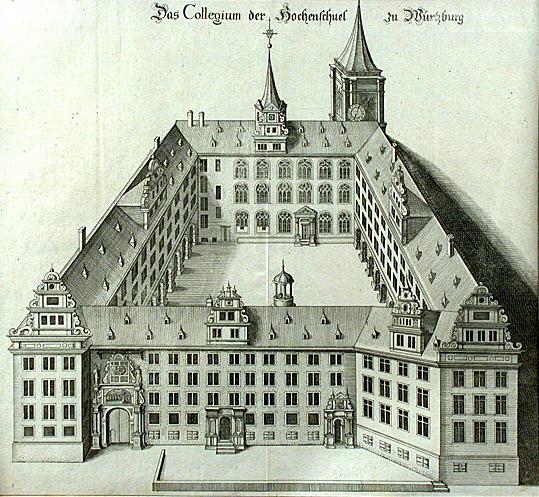 """Alte Universität Würzburg, """"Collegium der Hochenschuel zu Würzburg"""" mit Universitätskirche. Kupferstich von Johann Leypolt, 1591Autor unbekannt • Public domain"""