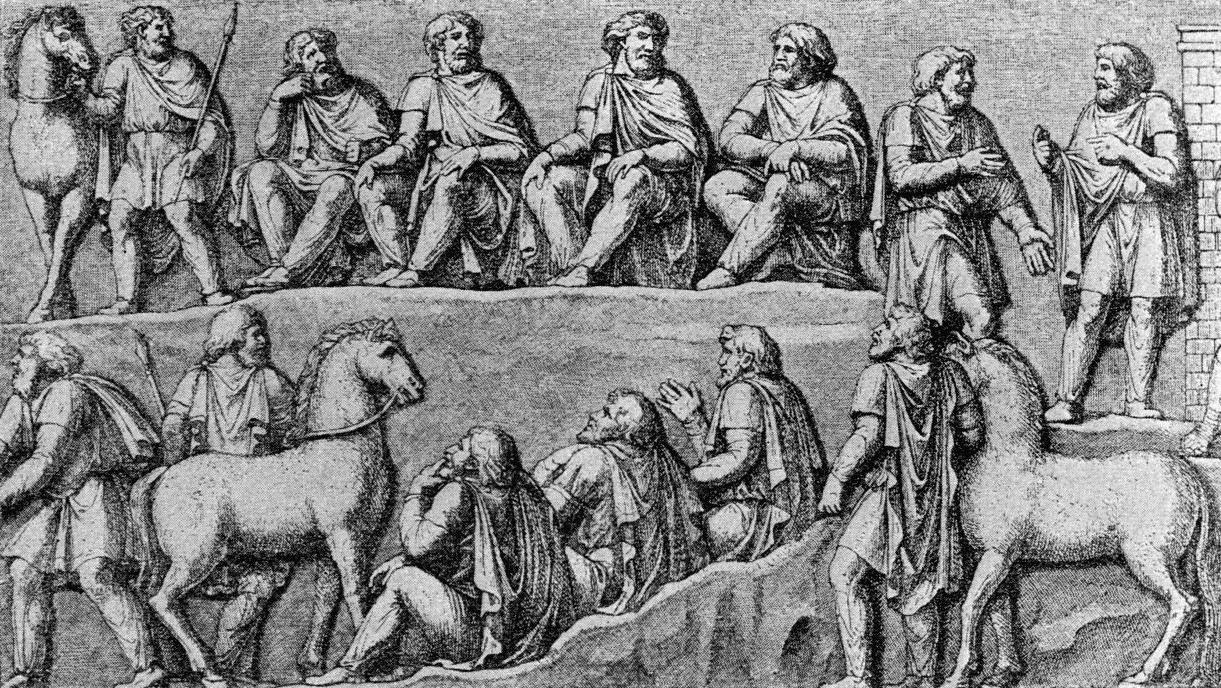 Germanische Ratsversammlung – Relief der Marc-Aurel-Säule zu Rom  • Public domain