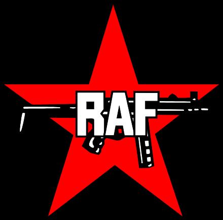 Logo der RAF: eine Maschinenpistole HK MP5 vor einem Roten Stern• Ratatosk • Public domain