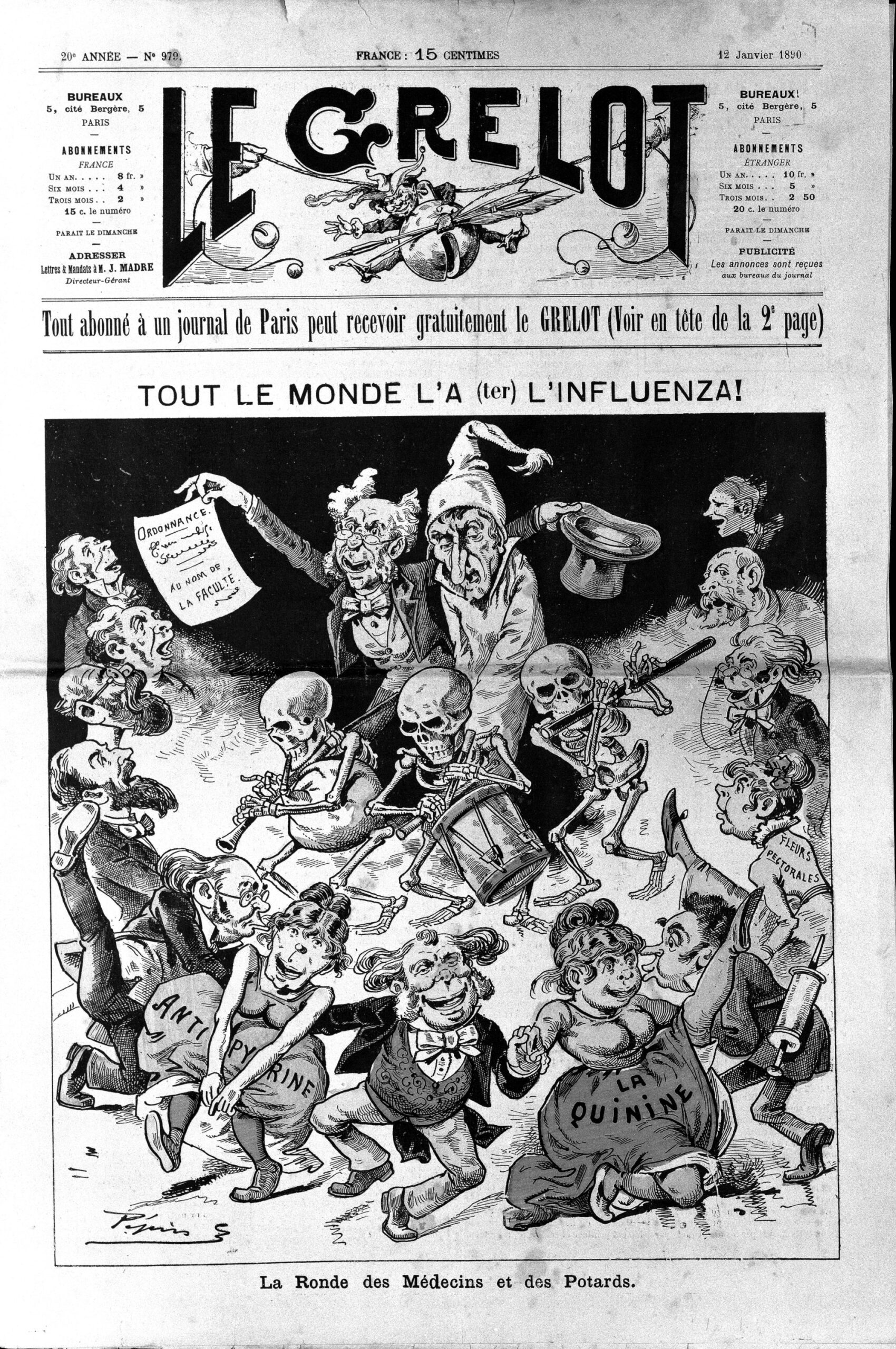 """Alle Welt hat Influenza"" (Karikatur von 1893) • CC BY 4.0 • http://commons.wikimedia.org/wiki/File:A_man_with_influenza,_taken_in_hand_by_a_doctor,_surrounded_Wellcome_L0026163.jpg#mw-jump-to-license"