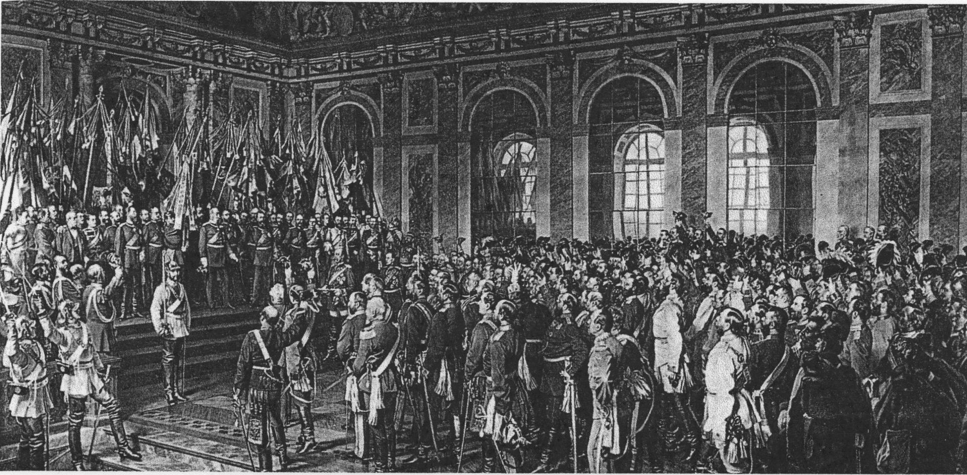 Die Proklamierung des deutschen Kaiserreiches (18. Januar 1871) (erste Fassung 1877) • Anton von Werner • Public domain