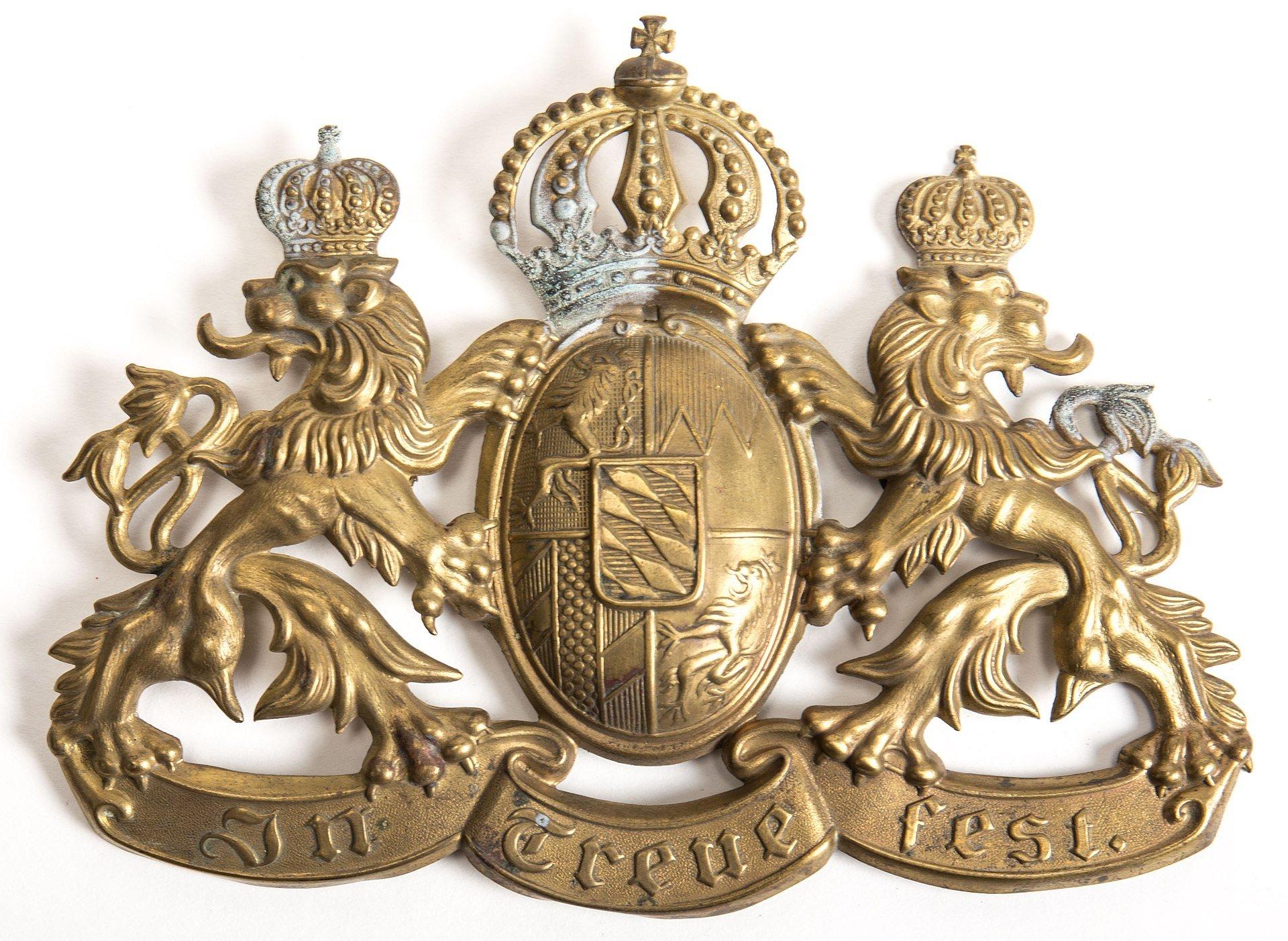 Helmplatte der Bayerischen Armee um 1914 mit dem Wahlspruch
